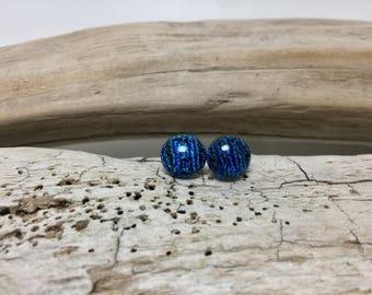 Dichroic glass studs, glass studs, dichroic glass jewelry, fused glass, handmade fused glass, glass studs,Dichroic Glass Stud earrings