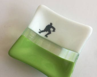 Fused glass plate, hockey, handmade fused glass dish, glass dish, ring dish, tea bag dish, candy dish, decorative dish, fused glass plate