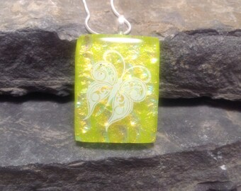 Fused Glass Pendant, Dichroic glass, glass necklace, Glass Pendant, Glass Jewelry, handmade dichroic glass, Butterfly pendant