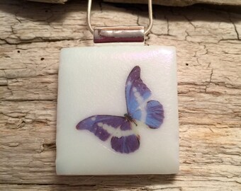 Dichroic glass jewelry, Dichroic Glass Pendant, butterfly pendant, Fused Glass Jewelry, Fused glass pendant, glass Necklace, Dichroic Glass