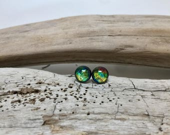 jewelry, dichroic glass, fused glass, handmade dichroic glass, dichroic glass earrings, dichroic glass, Fused Glass stud earrings, glass