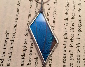 Real Butterfly pendant, glass pendant, butterfly necklace, butterfly Wing Necklace, Blue Morpho Pendant, insect pendant, glass
