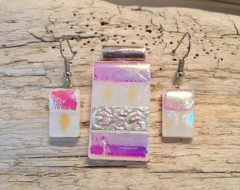 Dichroic glass pendant and earring set, dichroic glass jewelry, dichroic glass, fused glass, handmade fused glass, glass jewelry