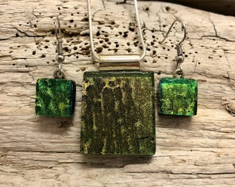 Glass Jewelry, Dichroic glass pendant, glass earring, dichroic glass jewelry, dichroic glass jewelry, fused glass jewelry, glass necklace