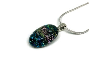 Glass Jewelry, glass necklace, Dichroic glass pendant, dichroic glass jewelry, dichroic glass necklace, glass pendant, fused glass pendant