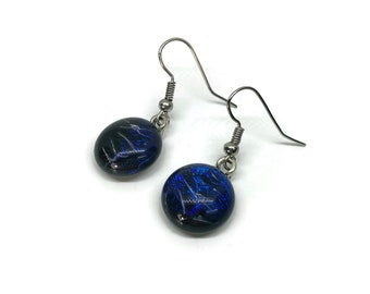 Fused glass Jewelry, Dichroic glass earrings, fused glass earrings, dichroic glass jewelry, Glass earrings, glass jewelry, dangle earrings