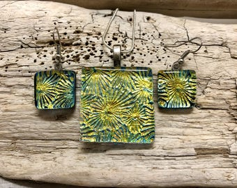 Dichroic glass pendant, dichroic glass jewelry, fused glass pendant, dichroic glass earrings,  fused glass jewelry, pendant and earring set