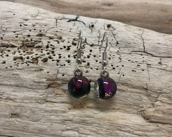 dichroic glass jewelry, fused glass jewelry, glass jewelry, fused glass earrings, dichroic glass earrings, dangle earrings, Glass earrings
