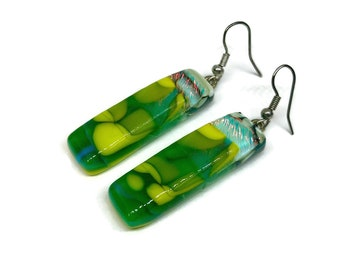 glass earring, Dichroic glass jewelry, fused glass earrings, dichroic glass, dichroic glass earrings, Dichroic Glass Dangle earrings