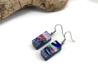 Fused glass jewelry, dichroic glass jewelry, fused glass earrings, dichroic glass earrings, glass jewelry, Dangle earrings, glass earrings