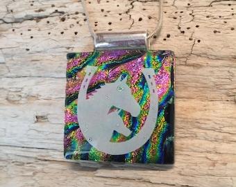 dichroic glass jewelry, horse pendant, horse lovers, horse jewelry, fused glass, Dichroic Glass Pendant, Fused Glass Jewelry, handmade glass