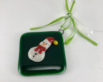 Fused glass, ornament, snowman, glass, handmade, home decor,handmade glass ornament, handmade fused glass, ornament, Christmas ornament