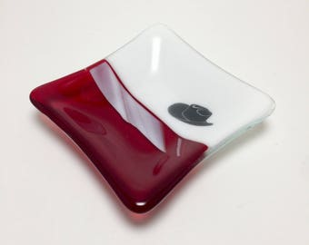 Fused glass, western plate,handmade glass dish, dish, art, home decor, jewelry dish, candy dish, spoonrest, dish, fused glass plate