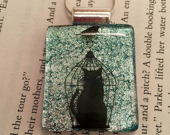 Fused Glass Pendant, Dichroic glass, glass necklace, Glass Pendant, Glass Jewelry, handmade dichroic glass, Cat pendant, glass