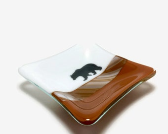 Fused glass, bear plate,handmade glass dish, dish, art, home decor, jewelry dish, candy dish, spoonrest, dish, fused glass plate