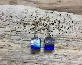 Dichroic glass earrings,Dichroic glass jewelry,fused glass, handmade dichroic glass, dichroic glass earrings, Dichroic Glass Dangle earrings