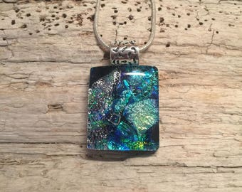 jewelry, dichroic glass pendant, handmade dichroic glass, glass, necklace, dichroic glass, fused glass, handmade fused glass, glass jewelry