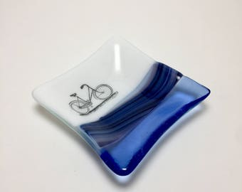 Fused glass, bike plate,handmade glass dish, dish, art, home decor, jewelry dish, candy dish, spoonrest, dish, fused glass plate