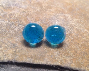 Fused glass, fused glass jewelry, Aqua Stud Earrings, Fused Glass Earrings, Fused Glass Jewelry
