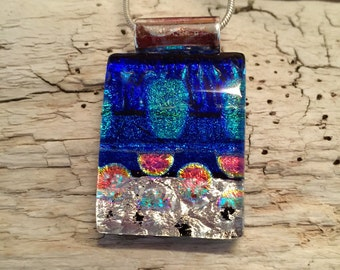 Dichroic Glass Jewelry, Dichroic glass pendant, glass necklace, Glass Pendant, Fused Glass Jewelry, fused glass pendant, glass jewelry