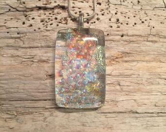 Dichroic glass, Dichroic glass jewelry, Layered Dichroic Glass Pendant, Fused Glass Jewelry, Fused layered Dichroic Necklace, Dichroic Glass