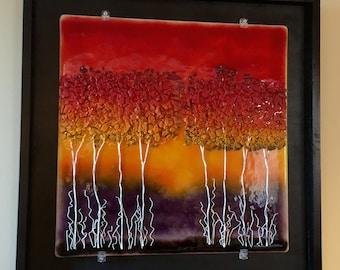 Fused Glass art, Fused glass, Glass art, fused glass wall panel, art, panel, wall decor, fused glass wall art