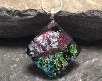 Glass Jewelry, Dichroic glass pendant, glass pendant, glass necklace, dichroic glass jewelry, dichroic glass, fused glass pendant, glass