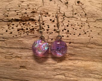 Dichroic glass jewelry, handmade fused glass, dichroic glass earrings, long fused glass earrings, Long Dangle Dichroic Glass earrings