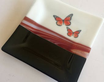 Fused glass plate, monarch, glass plate, handmade glass dish, glass dish, tea bag dish, candy dish, decorative dish, fused glass dish