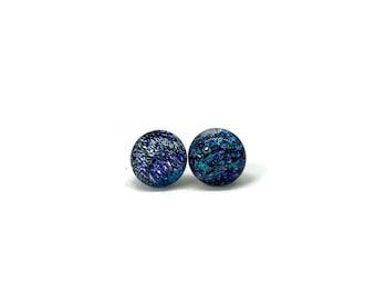 Glass earrings, dichroic glass earrings, dichroic glass jewelry, fused glass earrings, fused glass jewelry, glass earrings, stud earrings