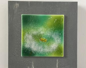 glass art, handmade fused glass, wall art, glass, home decor, fused glass wall panel, Fused Glass art, fused glass wall art, dandelion