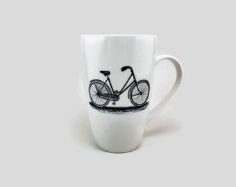 Coffee mug, hand painted porcelain mug, tea cup, gift, coffee cup, ceramic mug, bike themed mug, handmade mug, home decor, tea mug
