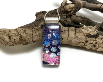 dichroic glass pendant, glass necklace, Fused Glass Jewelry, dichroic glass necklace, handmade dichroic glass, glass pendant, glass