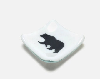 Fused glass art, bear plate, handmade fused glass dish, glass dish, ring dish, tea bag dish, candy dish, decorative dish, fused glass plate