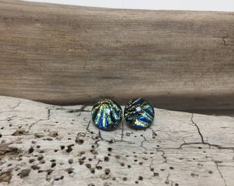 Dichroic glass jewelry, Dichroic Glass earrings, fused glass earrings, fused glass jewelry, glass earrings, fused glass studs, Glass Studs