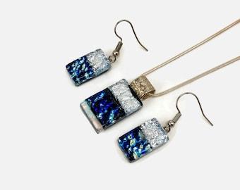 Jewelry set, glass jewelry, glass pendant, Dichroic glass set, dichroic glass jewelry, fused glass set, pendant, glass earrings, jewelry set