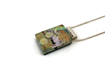 Fused Glass Necklace, glass pendant, glass necklace, Fused Glass Jewelry, Fused glass pendant, glass Necklace, Dichroic Glass necklace