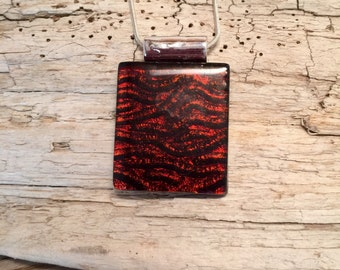 Dichroic glass pendant, glass necklace, Dichroic Glass Jewelry, Fused Glass Jewelry, handmade dichroic glass, glass necklace, glass