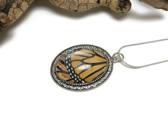 Real butterfly wing, Butterfly jewelry, glass pendant, butterfly Necklace, butterfly Pendant, butterfly wing pendant, monarch butterfly