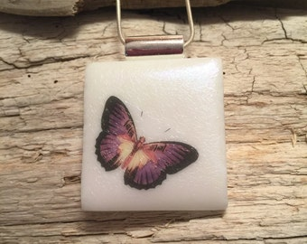 Dichroic glass jewelry, Dichroic Glass Pendant,butterfly pendant, Fused Glass Jewelry, Fused glass pendant, glass Necklace, Dichroic Glass
