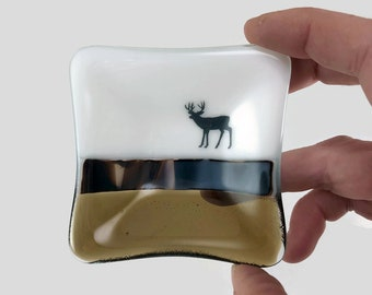Fused glass plate, wildlife, handmade glass dish, glass dish, elk plate, decor, jewelry dish, candy dish, spoonrest, dish, fused glass plate