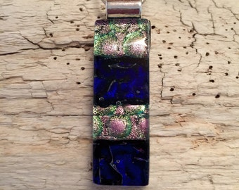 Dichroic glass necklace, Dichroic glass jewelry, Dichroic Glass Pendant, Fused Glass Jewelry, fused glass pendant, glass pendant, glass