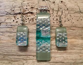 Glass Jewelry, fused glass jewelry, Dichroic glass jewelry, dichroic glass pendant, fused glass pendant, glass earrings, jewelry set, glass