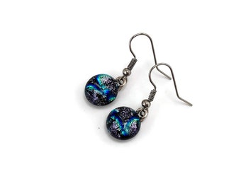 Dichroic glass earrings, dichroic glass jewelry, fused glass earrings, glass earrings fused glass jewelry, daisy earrings, Dangle earrings
