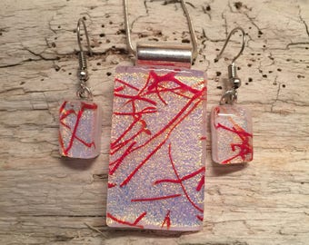 Dichroic glass set, glass jewelry, glass set, dichroic glass jewelry, fused glass set, fused glass jewelry, pendant and earring set