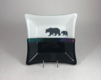 Fused glass plate, moose dish, handmade glass dish, dish, art, home decor, jewelry dish, candy dish, spoonrest, dish, fused glass plate