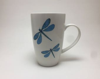 Coffee mug, tea mug, porcelain cup, hand painted porcelain mug, coffee cup, ceramic mug, dragonfly themed mug, handmade mug, home decor, tea