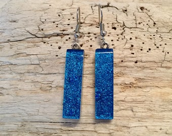 Dichroic glass, earrings, glass,handmade dichroic glass, fused glass, fused glass jewelry, dichroic glass, Dangle Dichroic Glass earrings