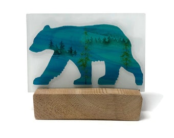 Fused Glass art, glass art, Glass Bear, Glass panel, home decor, candle holder, glass candle holder, glass sculpture, Glass