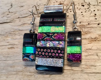 Fused glass jewelry, fused glass pendant, fused glass earrings, Dichroic glass jewelry, dichroic glass pendant, fused glass necklace, glass